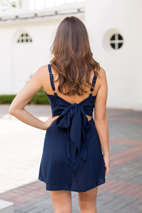 Back Bow Dress- Navy