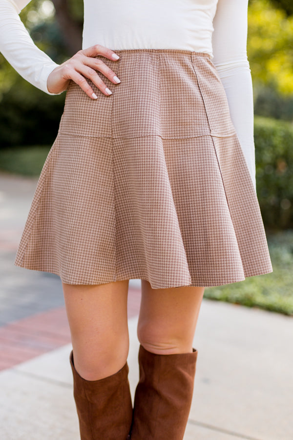 In Uniform Houndstooth Skirt- Taupe