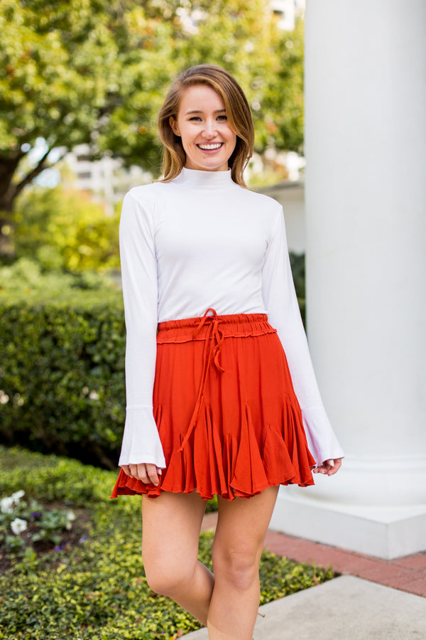 Go With The Flow Skirt- Burnt Orange