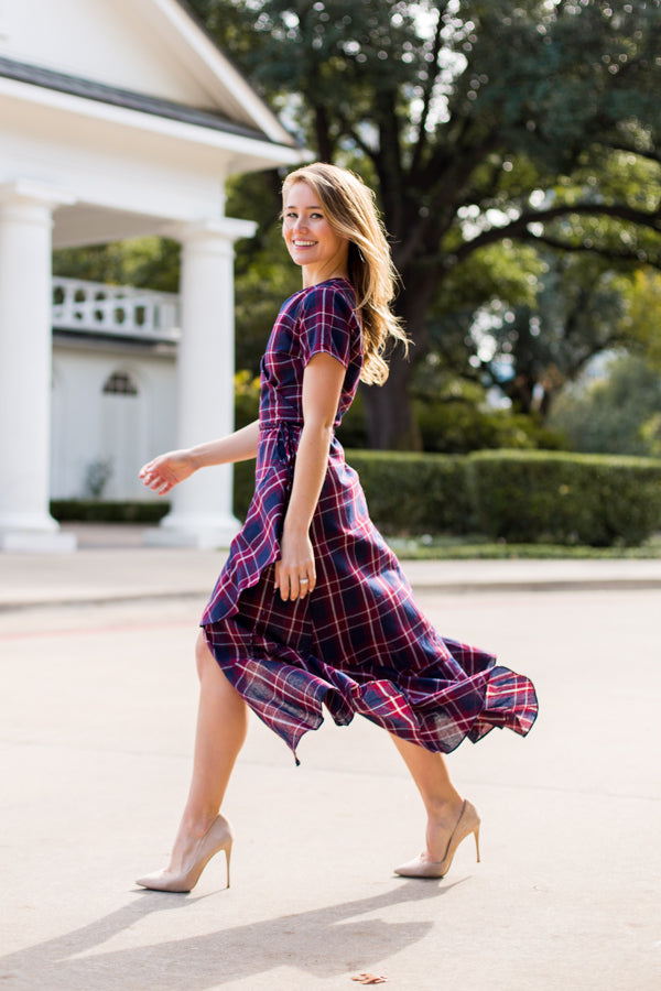 Plaid About You Dress- Navy