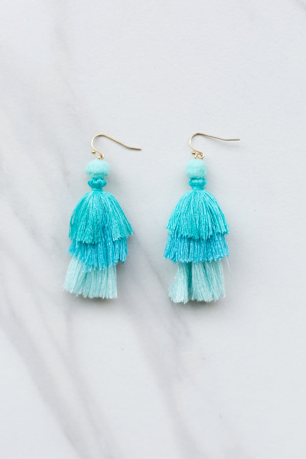 Ombre Pom Tassel Earrings- Turquoise