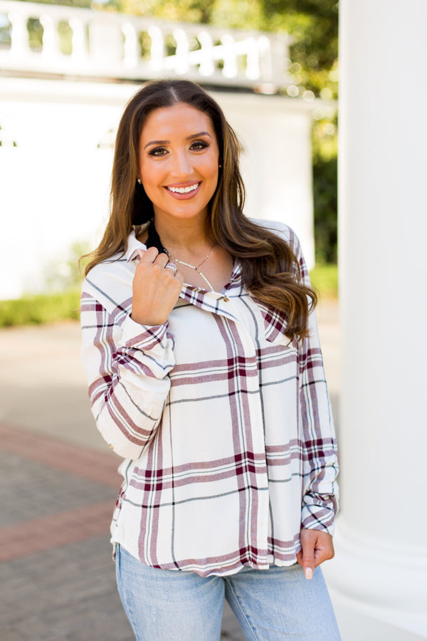 Mad For Plaid Flannel- Burgundy