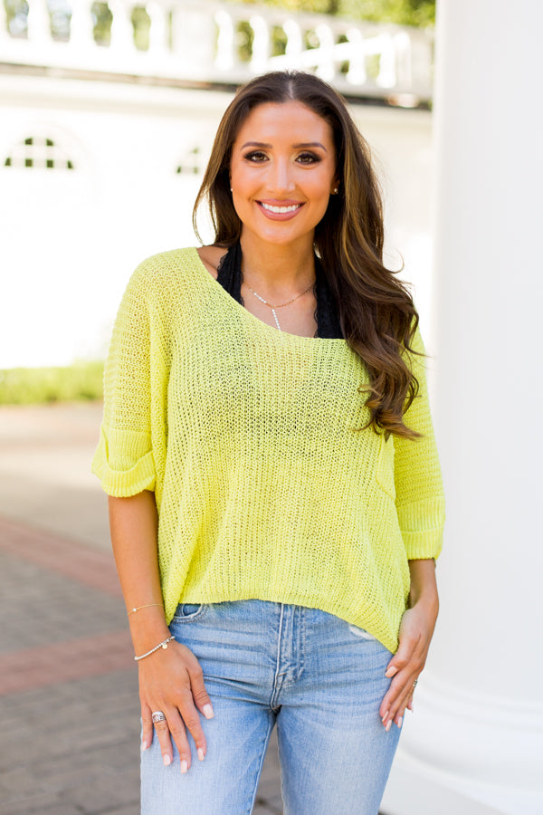 Summer's Ending Knit Top- Neon Yellow