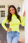 Trendsetter Turtleneck Top- Neon Lime