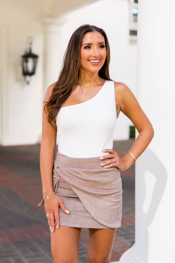 Fall Fever Suede Skirt- Taupe