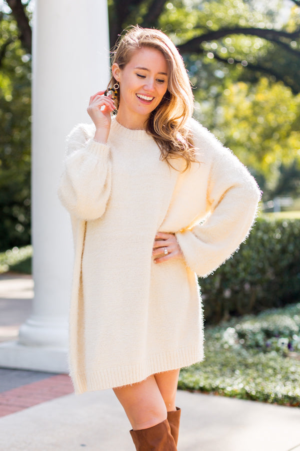 Snow Bunny Sweater Dress- Ivory