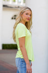 Z Supply V-Neck Tee- Neon Lime