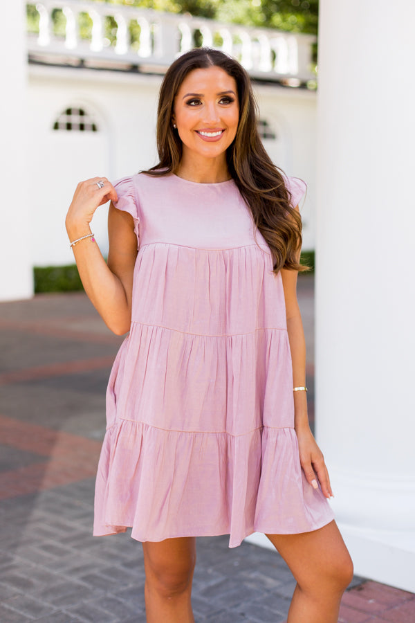All Year Long Babydoll Dress- Mauve