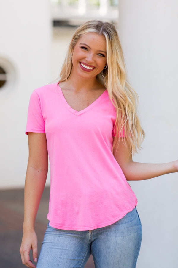 Z Supply V-Neck Tee- Neon Pink