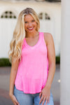Z Supply V-Neck Tank- Neon Pink