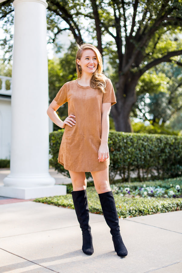 Prancer Suede Dress- Camel
