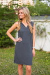 Sleeveless Hoodie Dress- Charcoal