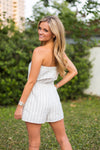 Strapless Striped Romper- Ivory