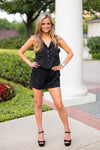 Button It Up Romper- Black