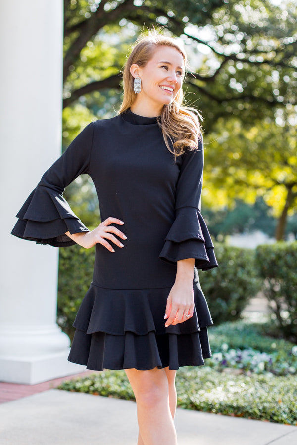 All Ruffled Up Dress- Black