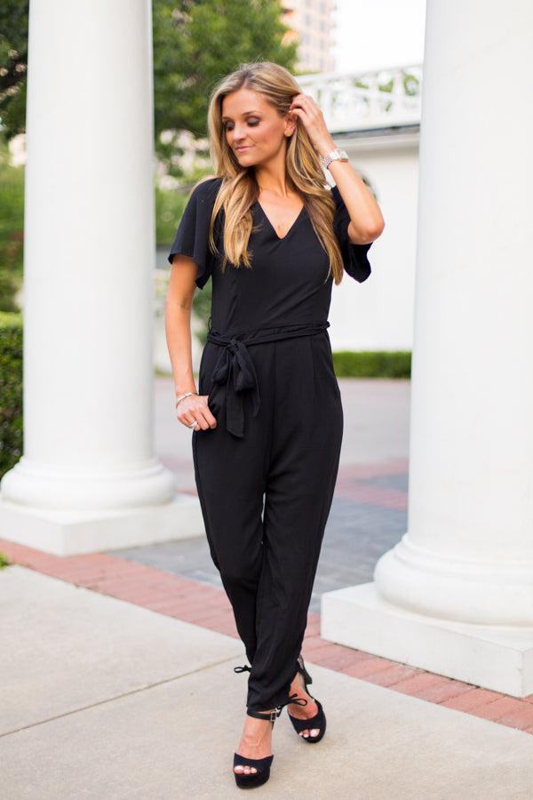 Working Girl Jumpsuit- Black
