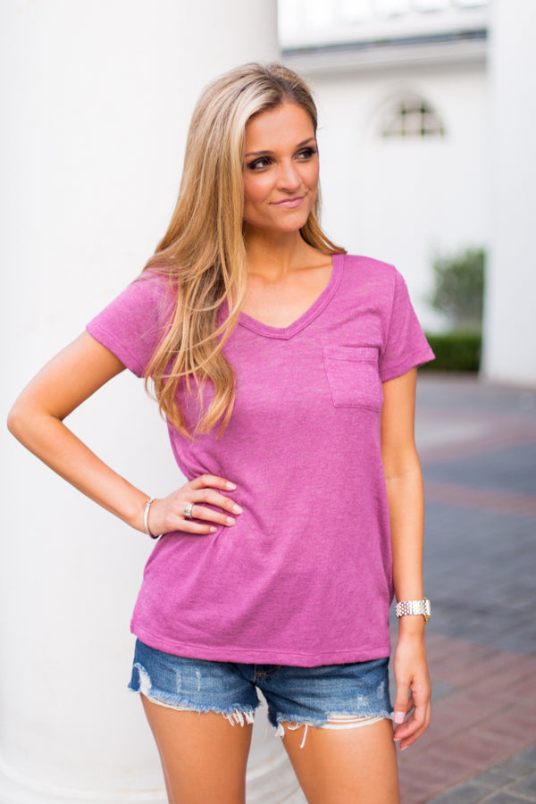 Urban Pocket Tee- Magenta