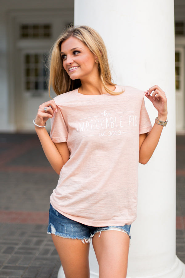 Vintage Established Pig Tee- Peach