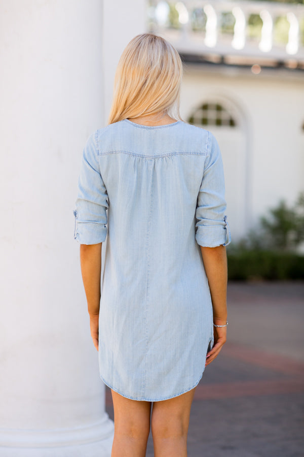 On My Way Tunic Dress- Heritage Blue