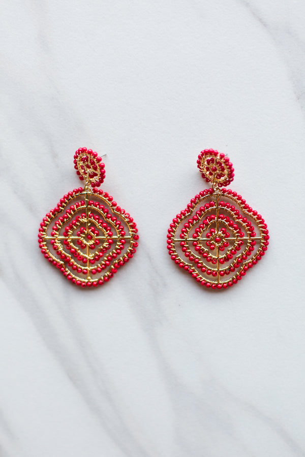 Cecilia Clover Earrings- Red