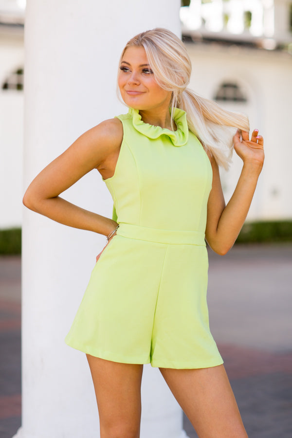 Ruffle Neck Romper- Lime