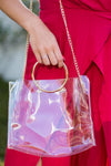 Clear Gameday Hoop Purse- Gold