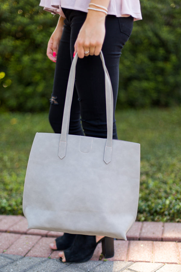 Simple Leather Tote- Gray