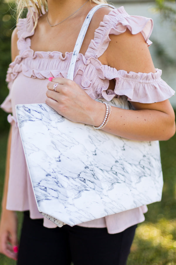 White Marble Tote