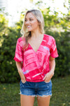 Brush Strokes Top- Pink