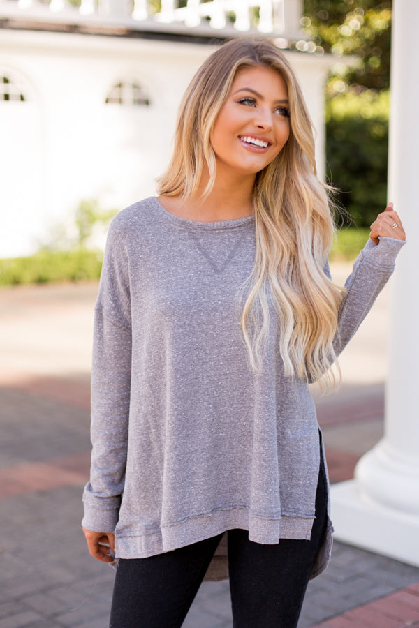 Z Supply Long Sleeve Split Tee- Heather Grey