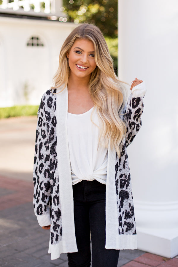 BB Dakota Leopard Knit Cardigan- Ivory