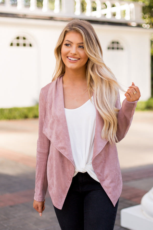 BB Dakota Wade Faux Suede Jacket- Rose Taupe