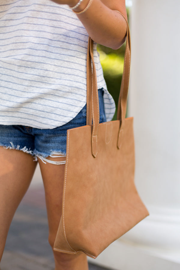 Simple Leather Tote- Tan