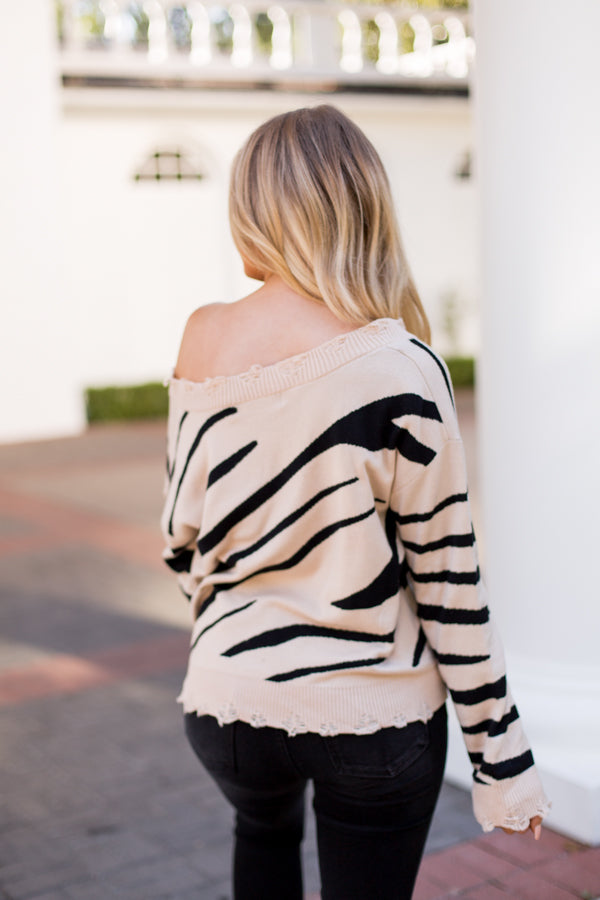 Drive Me Wild Tiger Sweater- Taupe