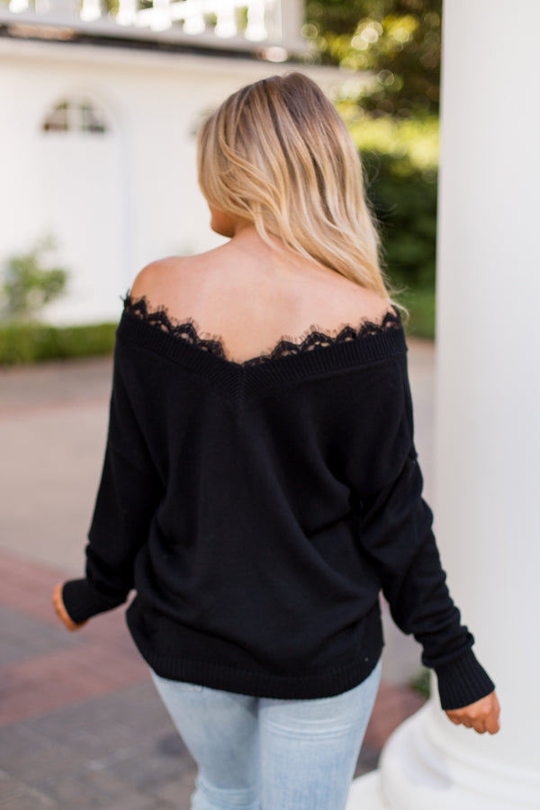 The Lace Is On Sweater- Black