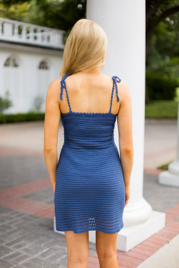 Okay Crochet Dress - Dark Blue