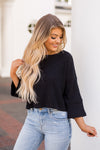 BB Dakota Cropped Flare Sweater- Black