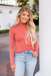 Make An Impression Ribbed Turtleneck- Coral