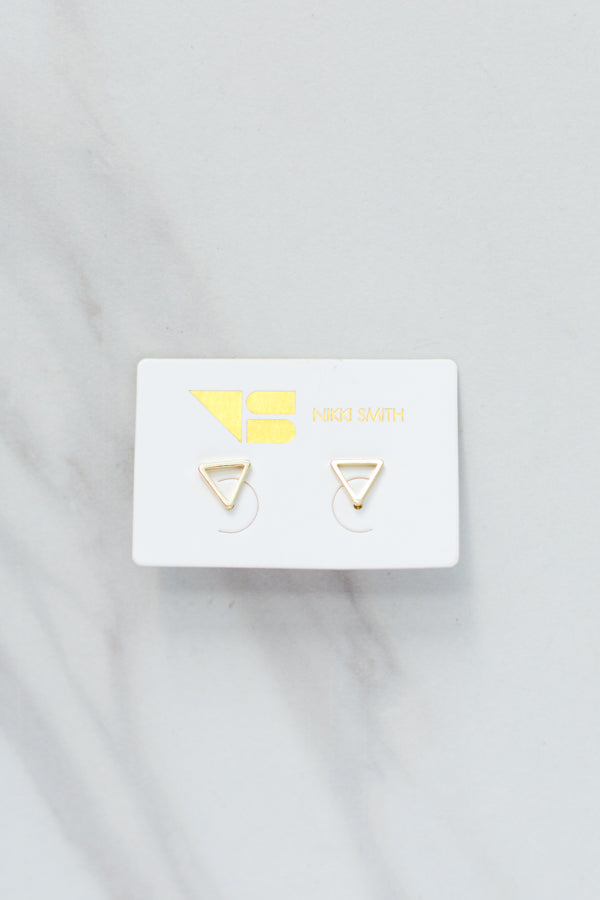 Nikki Smith Triangle Studs- Gold