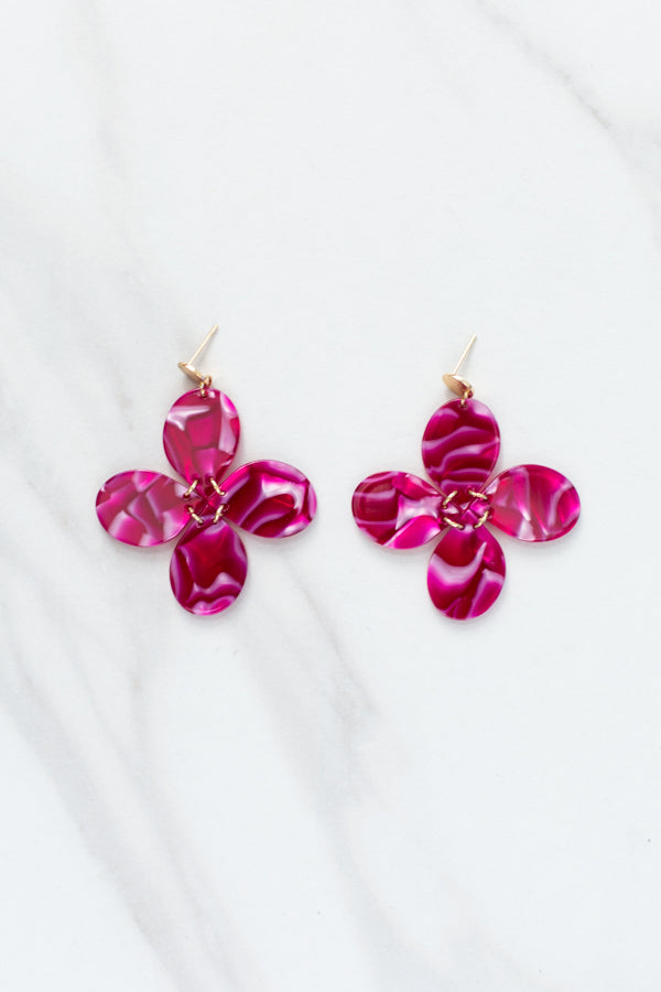 Groovy Girl Acrylic Earrings- Fuchsia