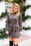 Tied To You Suede Dress- Olive