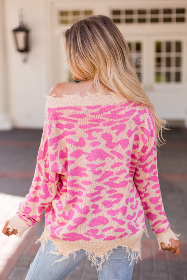 Girls Gone Wild Sweater- Pink Leopard