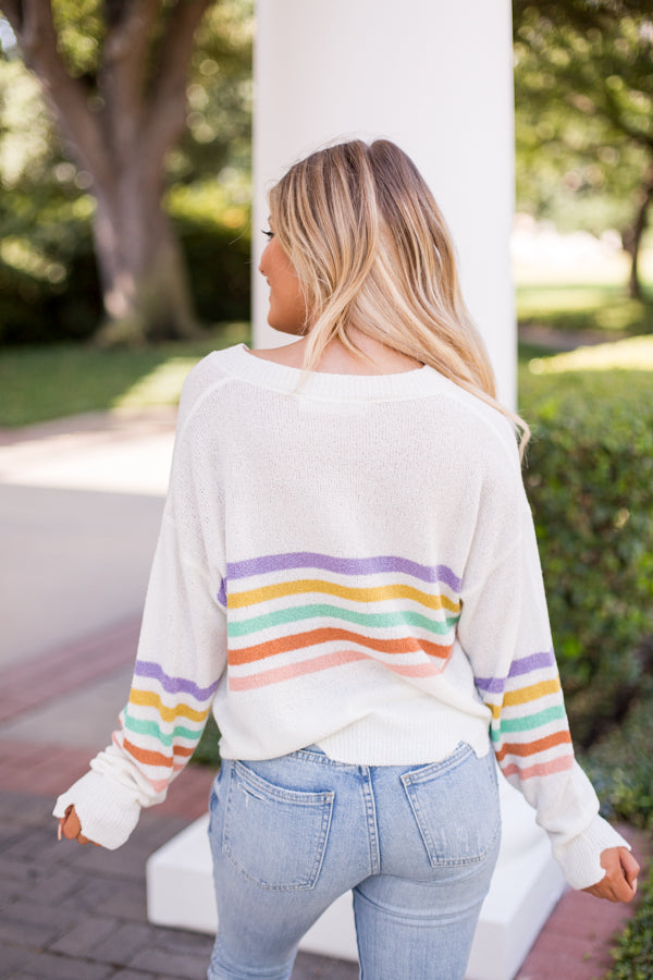 Show Your Stripes Sweater- Ivory