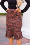 Back To Business Midi Skirt- Leopard