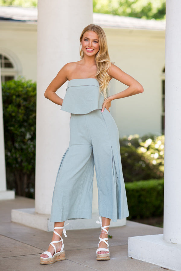 Got Plans Jumpsuit- Sage