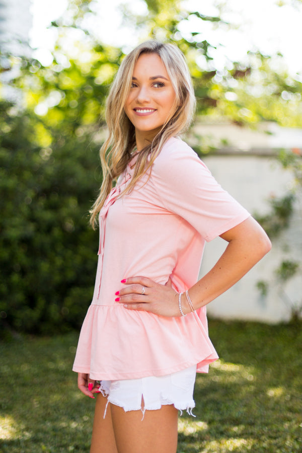 Lace It Easy Top- Peach