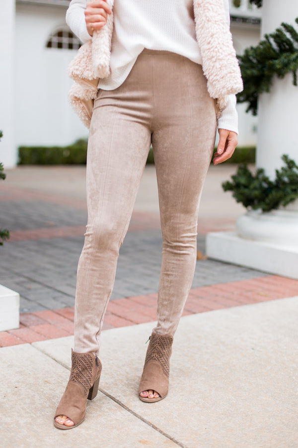 Feelin' Suede Leggings- Taupe