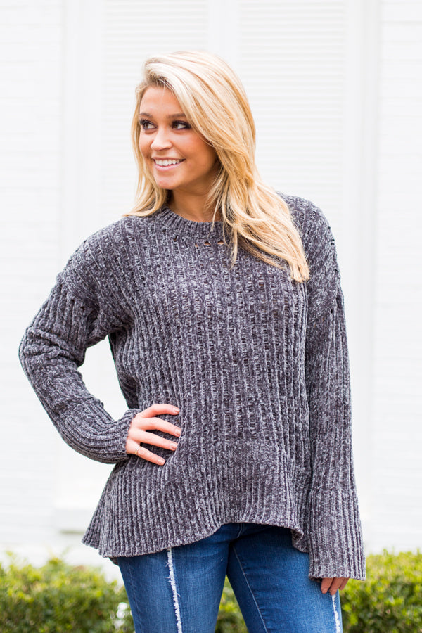 Chill In Chenille Sweater- Charcoal