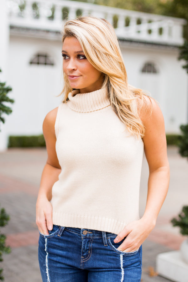 In Knit Sweater Tank- Cream