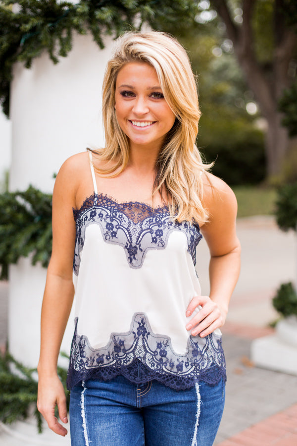 Amazing Lace Tank- Cream & Navy